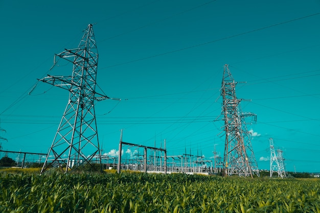 High voltage electric transmission tower distribution electric substation with power high voltage po...