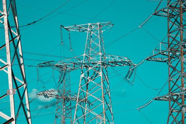 전력 고전압 포와 고전압 송전 타워 분배 전기 변전소 ...