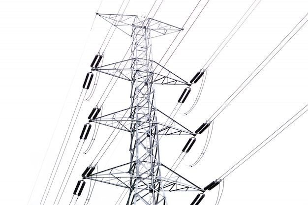 High voltage electrical pole and electric wire