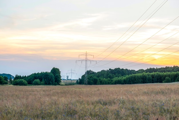 Структура электрического полюса высокого напряжения