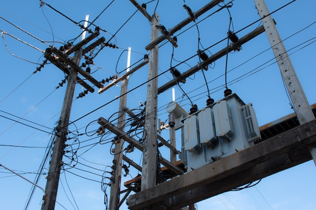 High voltage equipment on an electric pole.