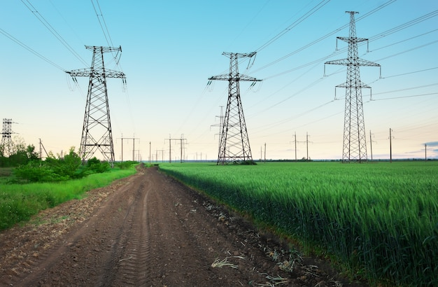 푸른 하늘에 구름이 있는 화창한 날 평평하고 푸른 농업 풍경에 고압선과 전력 철탑이 있습니다. 흐리고 비. 밀이 자라고 있다