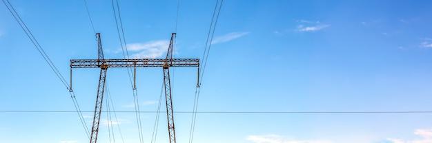 하늘 높은 전압 타워 전기 사용 및 전기에 대한 고전압 기둥 전력망 극 ...