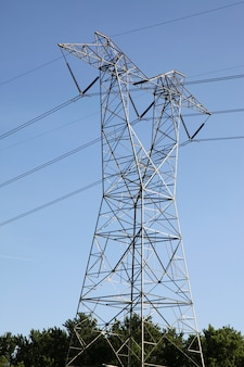 The high voltage pole in blue sky