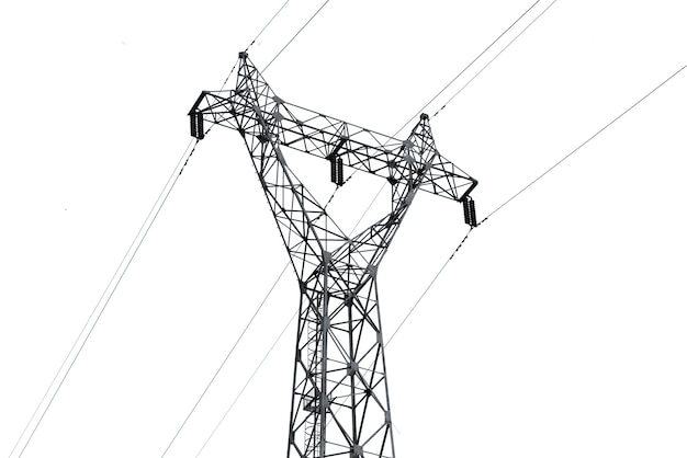 High voltage pole isolated on white background