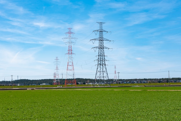 High voltage post,high voltage tower sky beautiful background