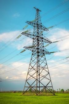 青空を背景にした高圧送電線