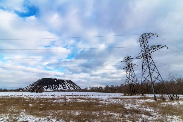 High voltage power lines and slagheap