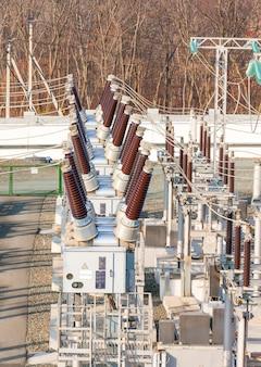 High voltage power transformer substation.