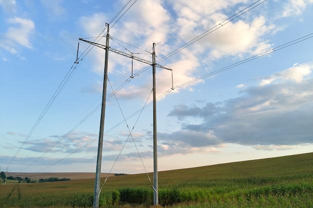 緑の農地の間に送電線を備えた高圧タワー。電気の概念の転送。