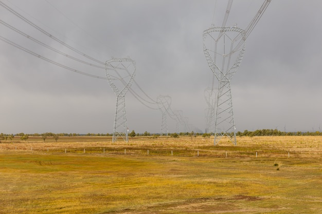 High-voltage towers. typical industrial landscape