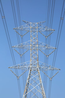 High-voltage transmission tower and wiring cable.
