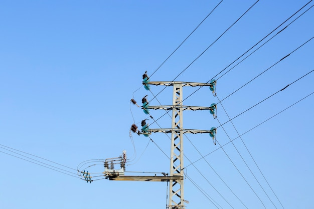 Высоковольтные провода и опоры. закройте электрические кабели о высоком напряжении. столб с электрическими проводами против голубого неба в солнечную погоду летом или весной. грязная проводка. электротехническая промышленность