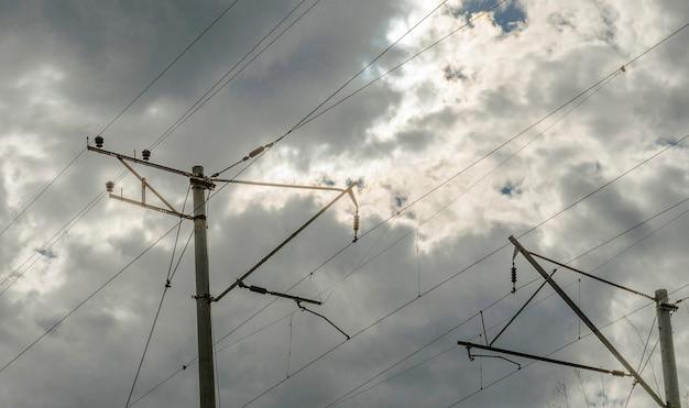 Провода и опоры высокого напряжения на железнодорожных путях
