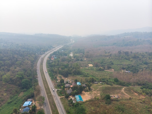 High way road with smoke pollution