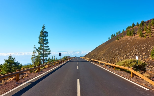 Highland road in teide national park, tenerife.