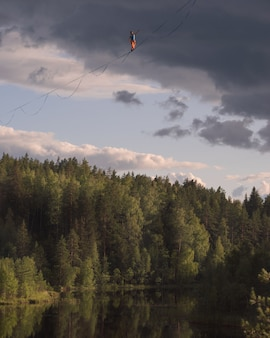 Highline over a picturesque forest lake