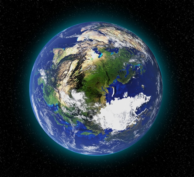 Highly detailed earth planet in galaxy