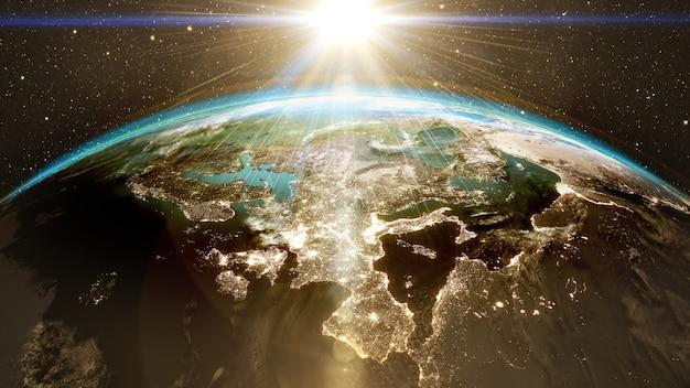 世界のスカイラインの非常に詳細な壮大な日の出衛星画像nasaを使用した夜間の都市3dレンダリングを備えた惑星地球ヨーロッパゾーン