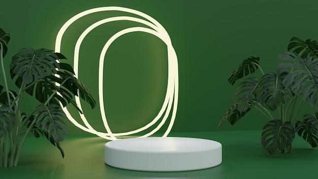高品質の3dレンダリングされた緑の自然製品の表彰台と輝く光
