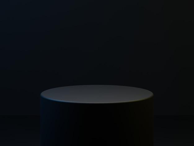 고품질 3d 렌더링 된 프리미엄 검은 색 원 연단 무대 배경