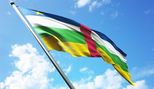 Highres 3d иллюстрация флага центральноафриканской республики на фоне голубого неба