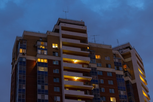 Highrise apartment house in the dusk