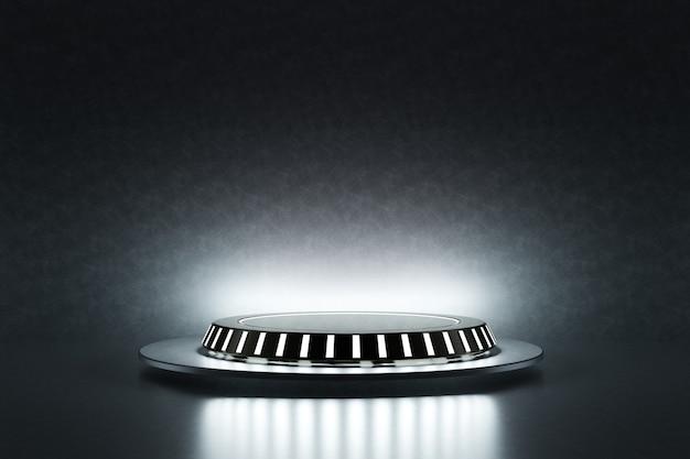 電気ランプの背景を持つ宇宙船のハイテク製品表彰台プラットフォームスタジオ