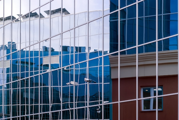 Hightech style cityscape fragment of glass and metal building facades