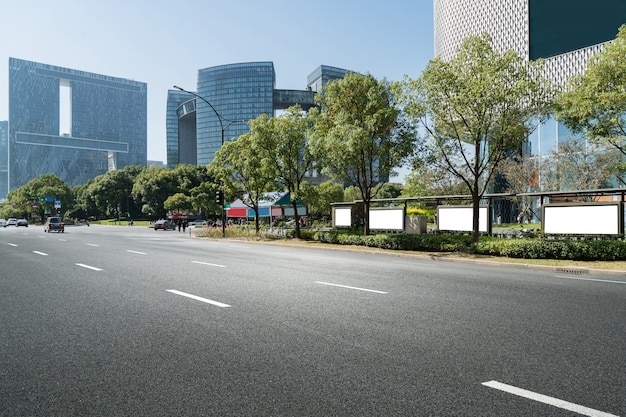 Highway and modern urban architecture in qiantang river new town, hangzhou, china