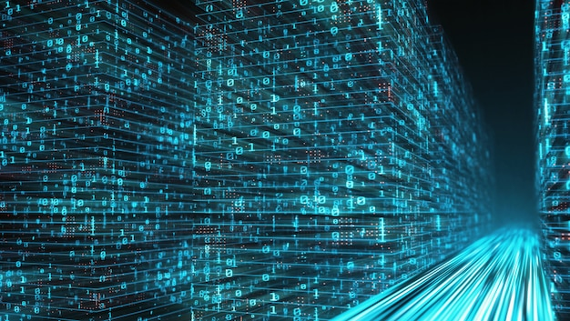 Highway path through digital binary data towers
