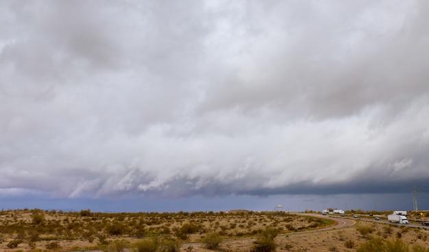 A highway runs along road to arizona, usa