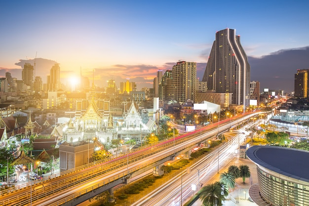 Highway and skyling in business zone or downtown of bangkok thai