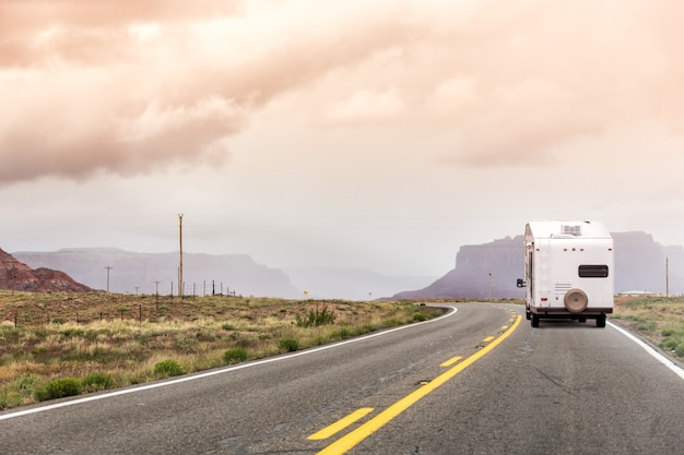 Highway with motor home in the usa
