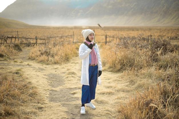 Hijab woman vacation at bromo, east java