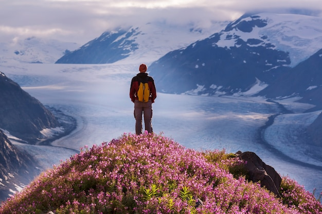 カナダのサーモン氷河周辺をハイキング