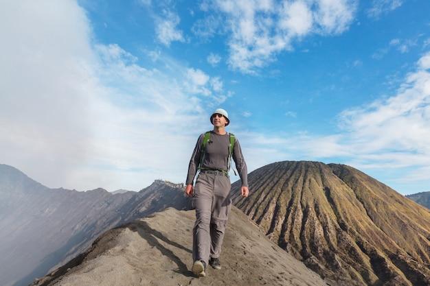 Hike in bromo volcano in java island, indonesia