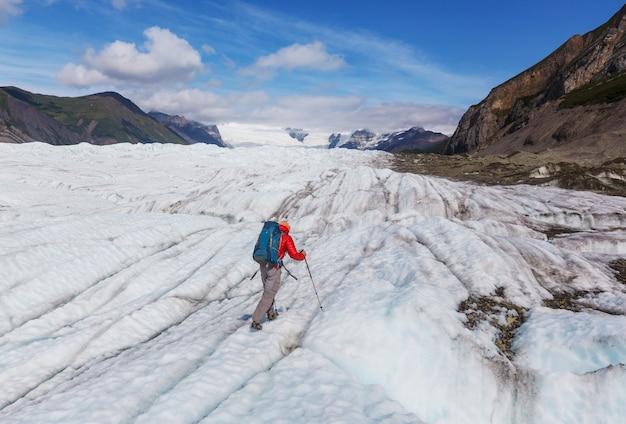 夏にアラスカでハイキング