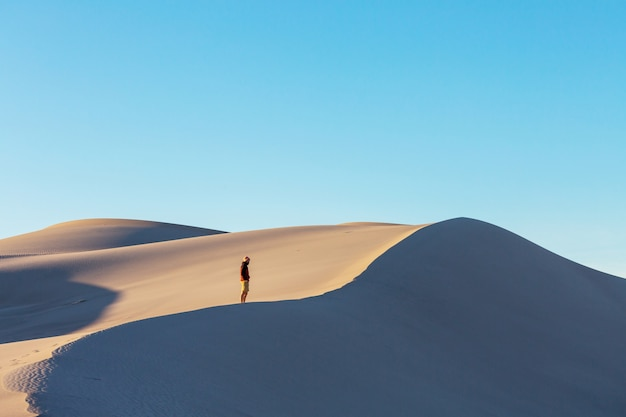 Hiker among sand dunes in the desert