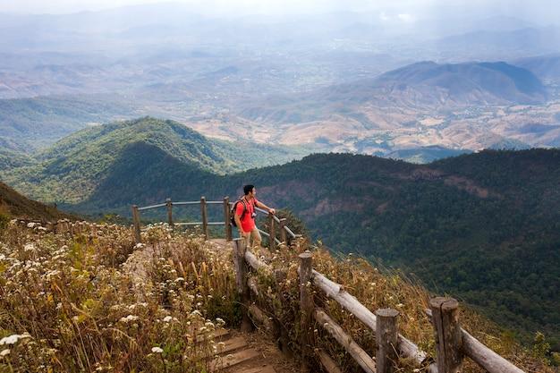 Hiker in a beautiful mountain landscape