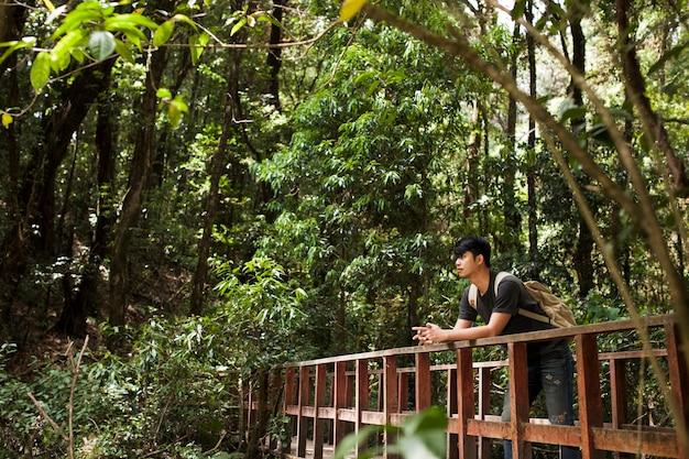 Escursionista sul ponte a giungla