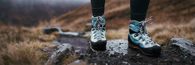 Hiker at buachaille etive beag in scotland