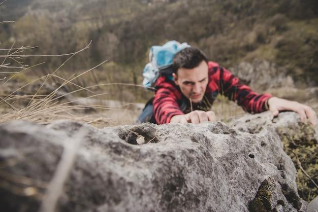 Hiker climbing outdoors