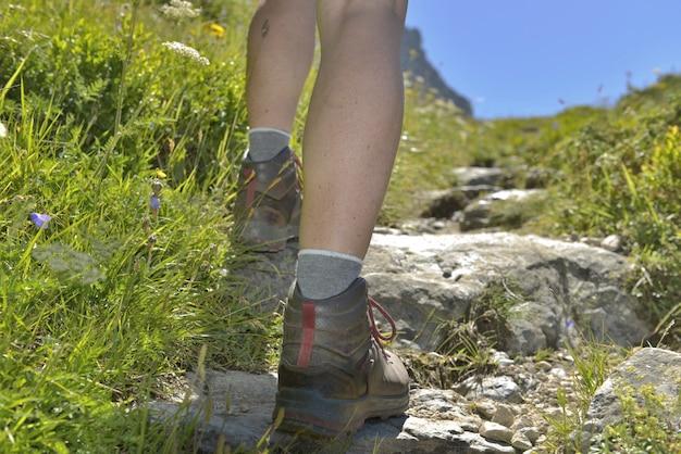 Hiker climbing a path