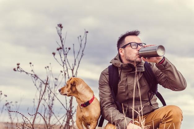 Hiker drinking water