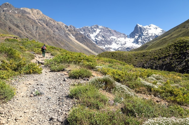 Escursionista nel monumento naturale el morado in cile