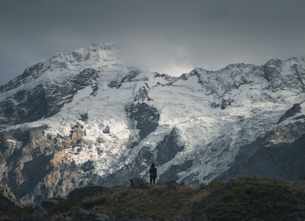 Hiker in front of a snowy mountain