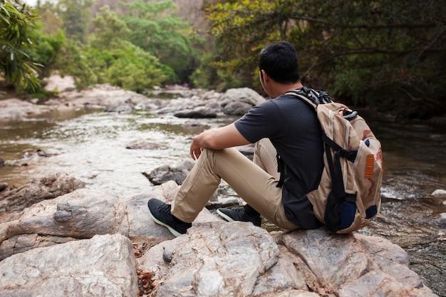 Hiker at river