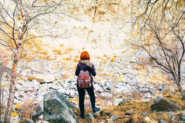 Hiker woman with backpack.