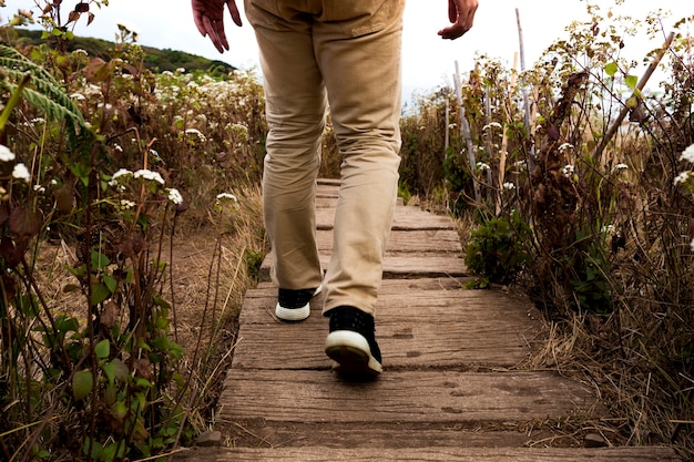Hiker on wooden path